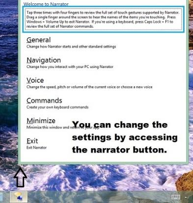 Narrator default settings