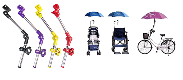Sinuote umbrella holders for bike, wheelchair, and stroller