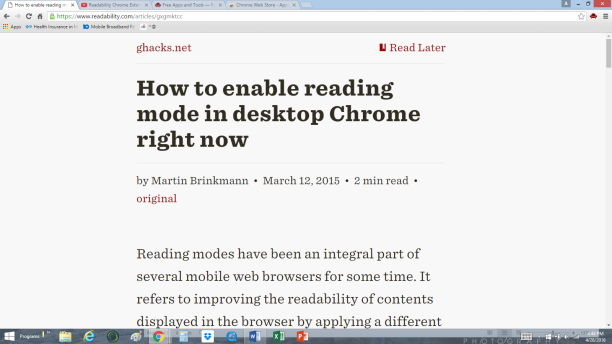 Web page with Readability Extension