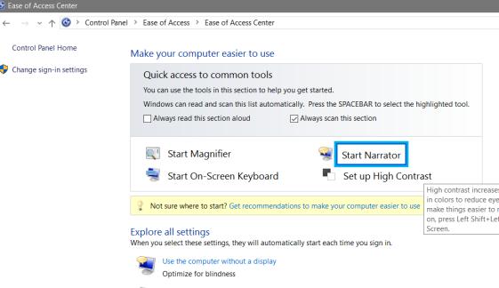 Ease Of Access Center Windows 7, 8 & 10