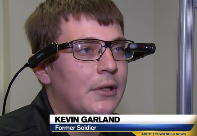 A man wearing Cyber Eyez smart glasses - from ABC news